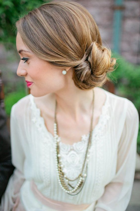 Loose Bun Up-Do Hairstyles for Bridesmaid 2