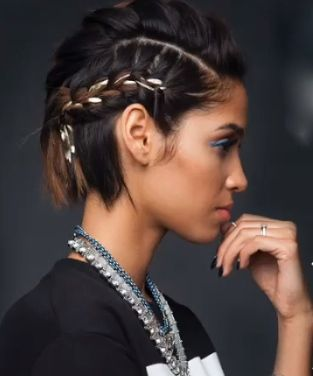 Alternative Braided Mohawk easy updos for short hair to do yourself 3