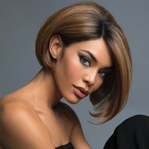 20 Charming Short Brown Hairstyles for Women Over 60 (Updated 2021) Black-and-brown-blunt-bob