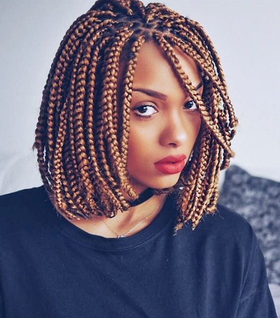 Braided Bob with Side Fringes Most Inspiring Braids Hairstyle for Women 3