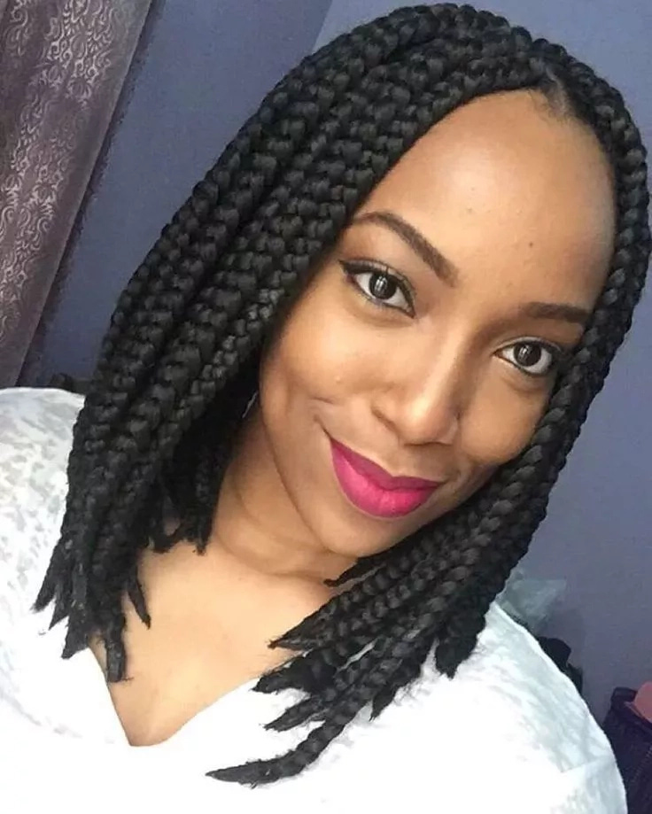 Braided Bob with Side Fringes Most Inspiring Braids Hairstyle for Women 5