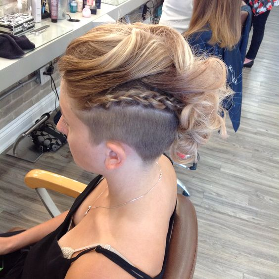 Braided Mohawk easy updos for short hair to do yourself 3
