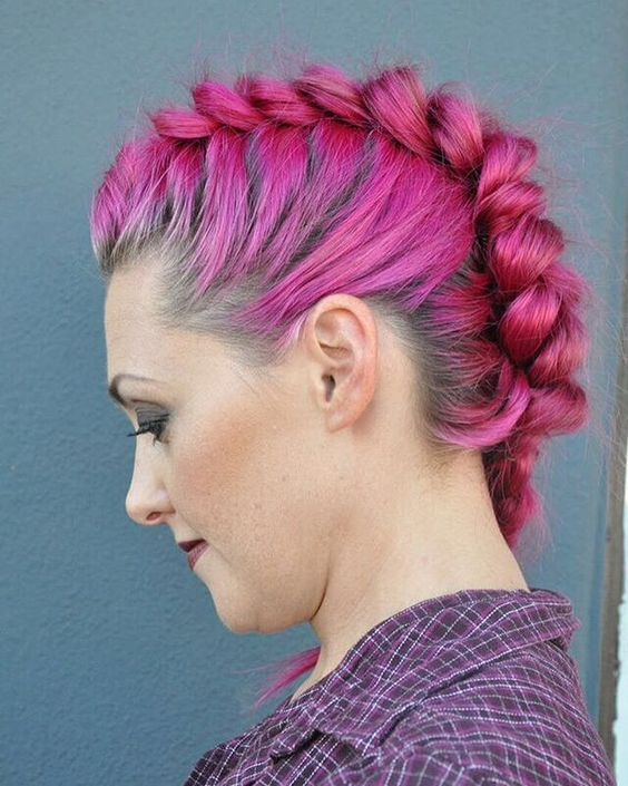 Braided Mohawk easy updos for short hair to do yourself 5