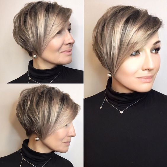 20 Charming Short Brown Hairstyles for Women Over 60 (Updated 2021) Brown-and-blonde-balayage-pixie