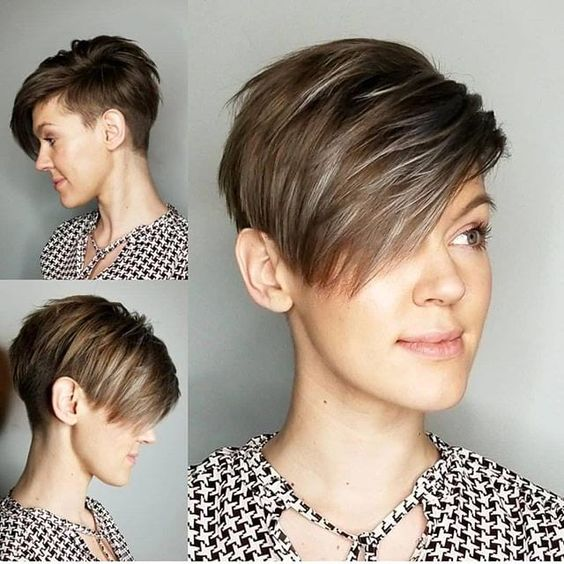 20 Charming Short Brown Hairstyles for Women Over 60 (Updated 2021) Brown-side-swept-hair-with-taper-fade