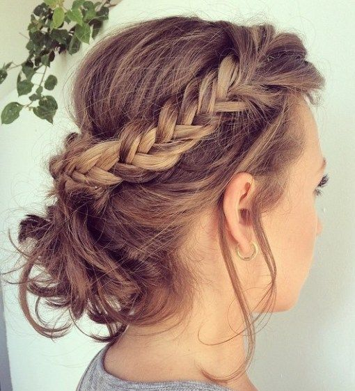 Crown Braid easy updos for short hair to do yourself 9