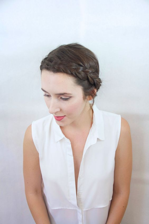 Crown Braid easy updos for short hair to do yourself 6