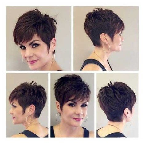 20 Charming Short Brown Hairstyles for Women Over 60 (Updated 2021) Dark-brown-spiky-pixie-cut