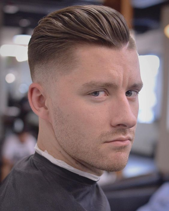 10 Ideal Haircuts for Men with Thin Hair Hand-Brushed-Back-Drop-Skin-Fade-haircuts-for-men-with-thin-hair-8
