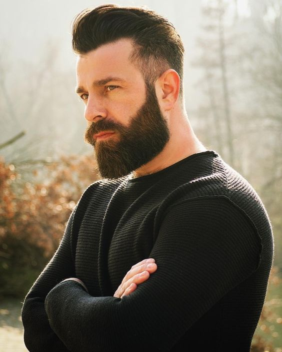 High Fade & Medium Natural Slicked Back with Big Beards hairstyles for older men with beards 4