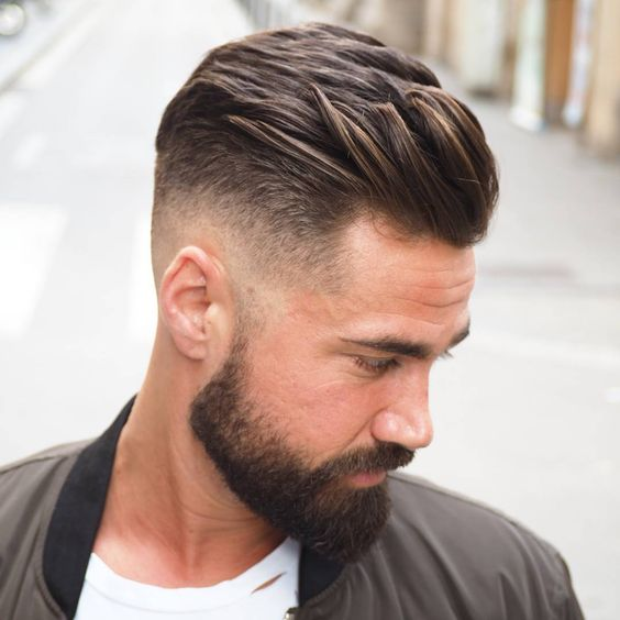 High Fade Slicked Combover Pomp with Groomed Beards hairstyles for older men with beards 5