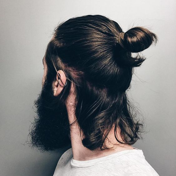Knotted Bun long hairstyles for men with thick hair 7