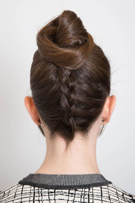 79 Most Inspiring Braids Hairstyle for Women Knotted-Chignon-Most-Inspiring-Braids-Hairstyle-for-Women-1