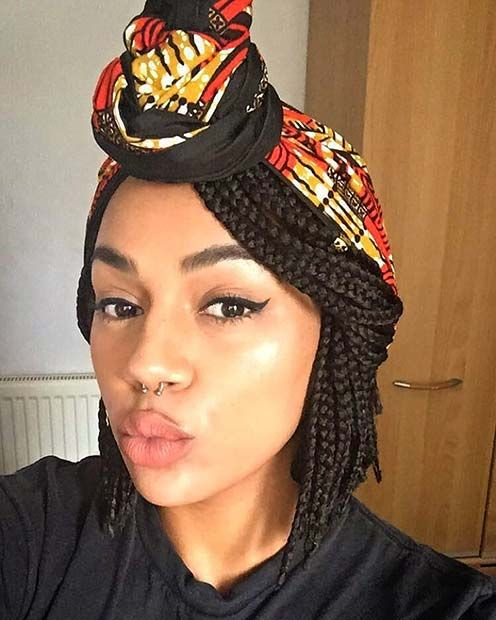 Knotted Head Scarf Most Inspiring Braids Hairstyle for Women 4
