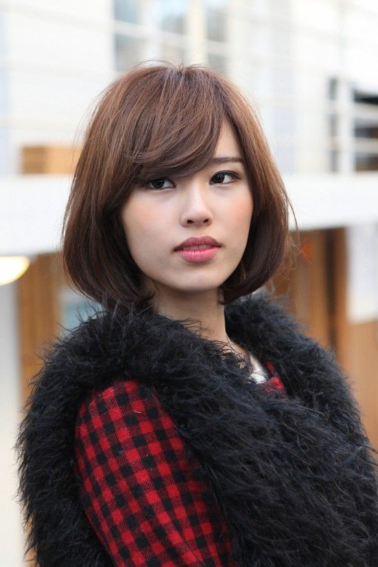 Medium Bob With Bangs Asian hairstyles for women 6
