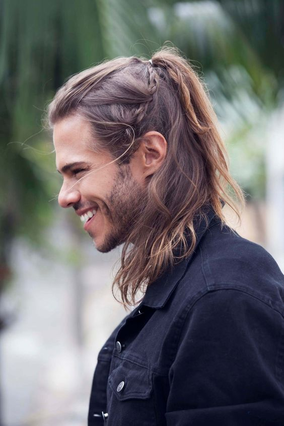 Ponytail long hairstyles for men with thick hair 10