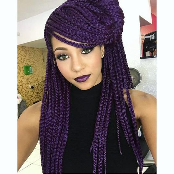 Punky Purple Most Inspiring Braids Hairstyle for Women 3