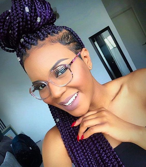 Punky Purple Most Inspiring Braids Hairstyle for Women 4