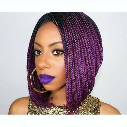 Punky Purple Most Inspiring Braids Hairstyle for Women 6