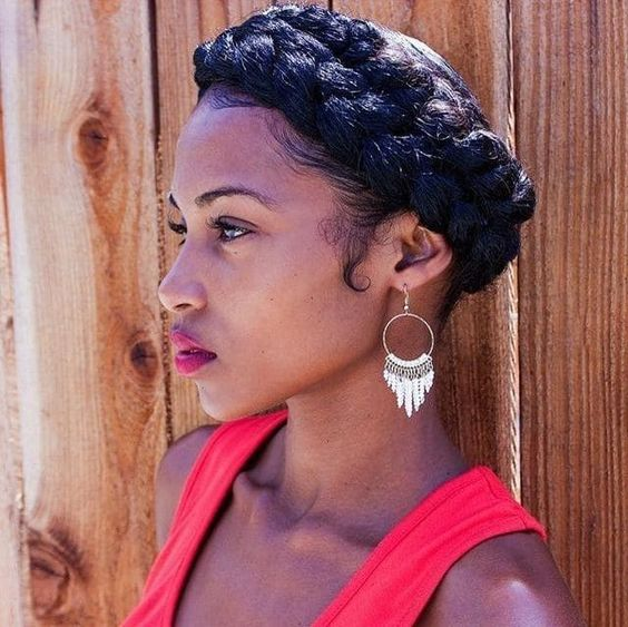 Short Curly with Crown Braid Easiest Short Curly Hairstyles Ideas 2