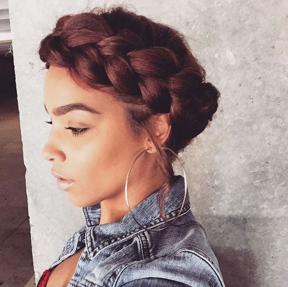 Short Curly with Crown Braid Easiest Short Curly Hairstyles Ideas 5