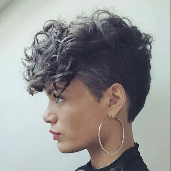 Short Curly with Shaved Side Easiest Short Curly Hairstyles Ideas 2