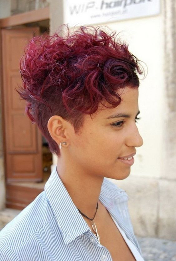 Short Curly with Shaved Side Easiest Short Curly Hairstyles Ideas 3