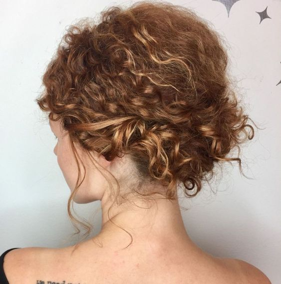 Short Natural Curly Up-Do Easiest Short Curly Hairstyles Ideas 3