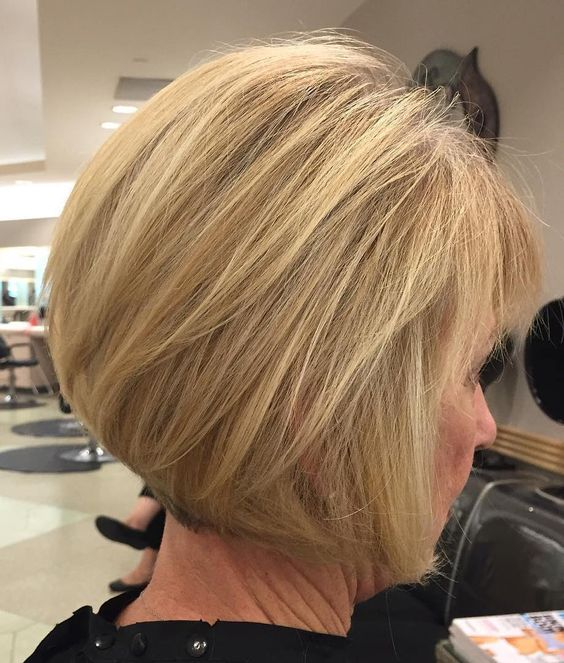 Short Wedge Bob for Seniors with Thin Hair That Give Youthful Look 1