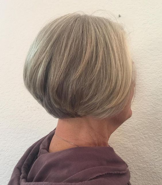 Short Wedge Bob for Seniors with Thin Hair That Give Youthful Look 6