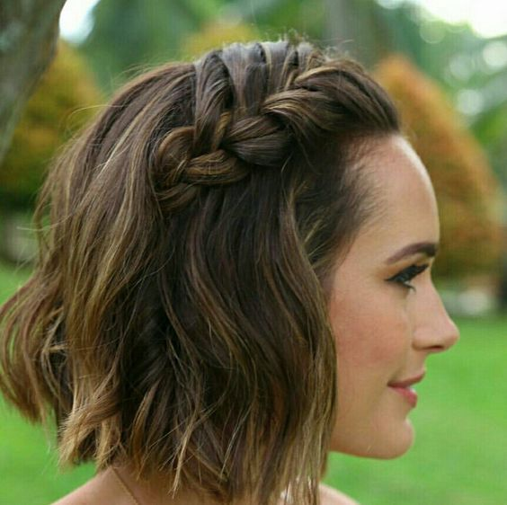 Side Braided Hairstyle easy updos for short hair to do yourself 2