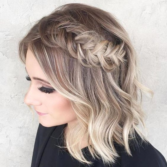 Side Braided Hairstyle easy updos for short hair to do yourself 4