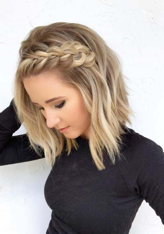 Side Braided Hairstyle easy updos for short hair to do yourself 5