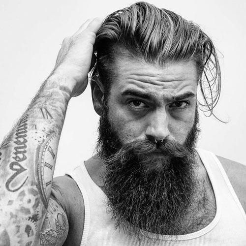 Slicked Back Hair with Long Beards hairstyles for older men with beards 2
