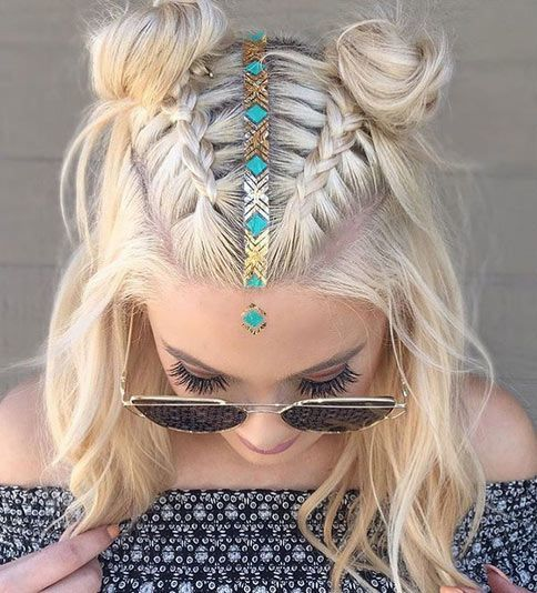 Space Braided Bun with Pig Tails Most Inspiring Braids Hairstyle for Women 2