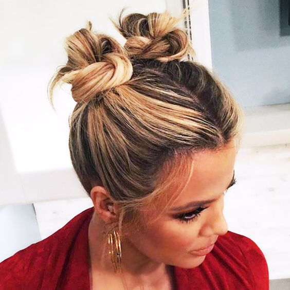 Space Braided Bun with Pig Tails Most Inspiring Braids Hairstyle for Women 3