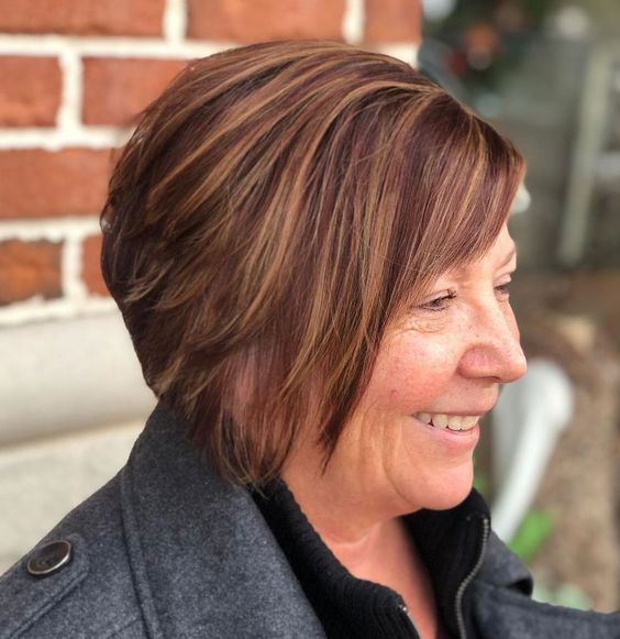 20 Charming Short Brown Hairstyles for Women Over 60 (Updated 2021) Tapered-brown-bob