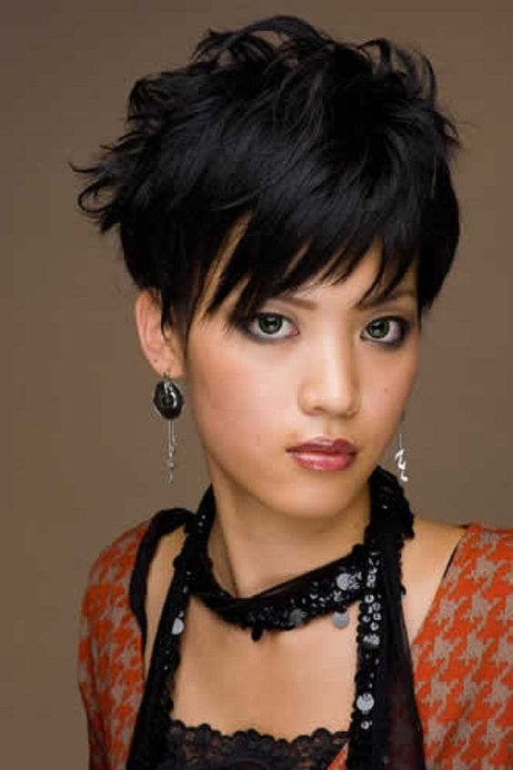 Textured Pixie With Bangs Asian Hairstyles For Women 2