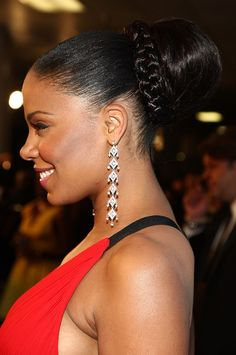 Big Bun and Braid Hairstyle for African American Wedding 5