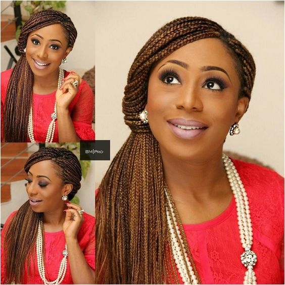 Straight Full Braid Hairstyle for African American Women 6
