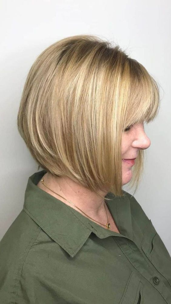 25 Short Haircut Styles that Make You Look Way Younger (Updated 2021) Short-stacked-bob-with-bangs