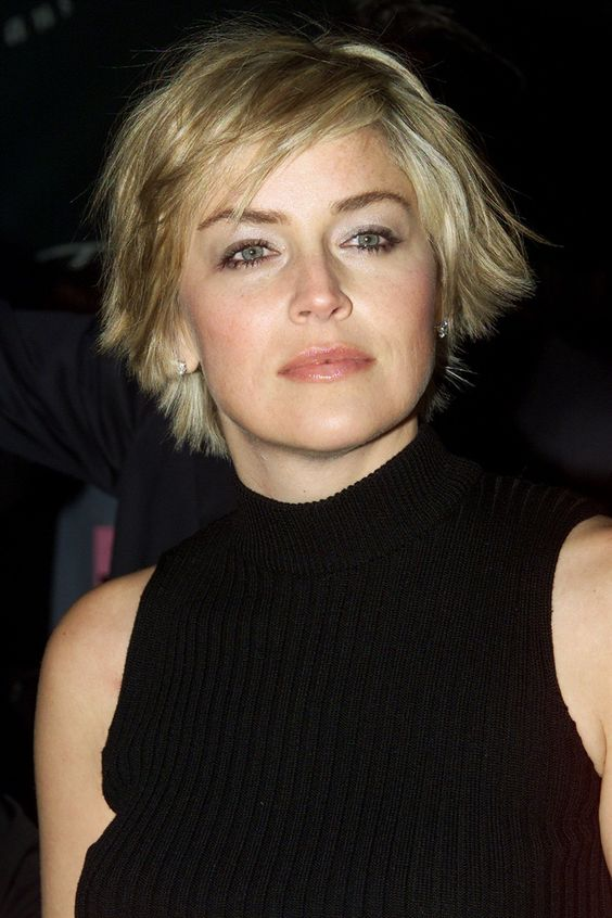 Sharon Stone Asymmetrical Cut with Bangs