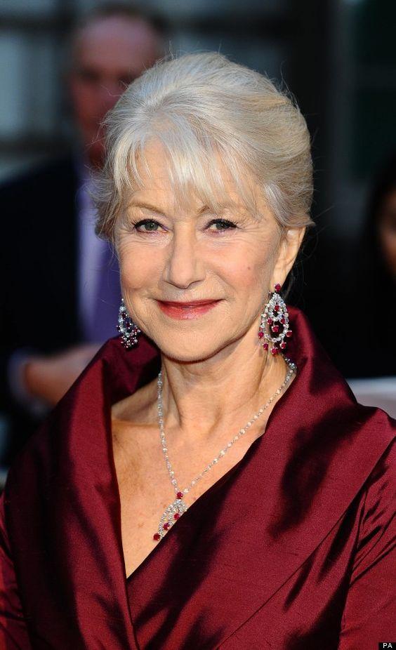Helen Mirren Short Cut with Gray Highlights
