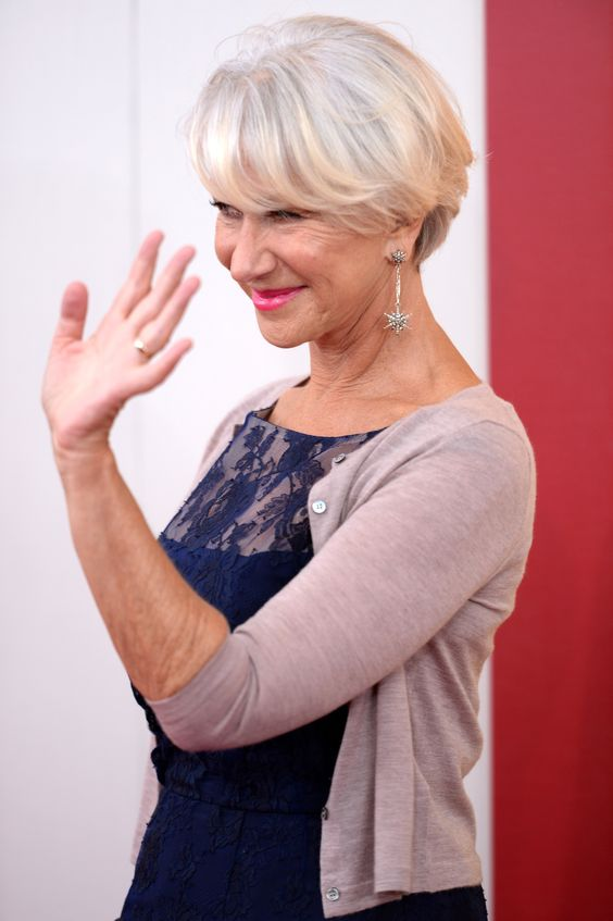 Helen Mirren Platinum Side Part with Bangs
