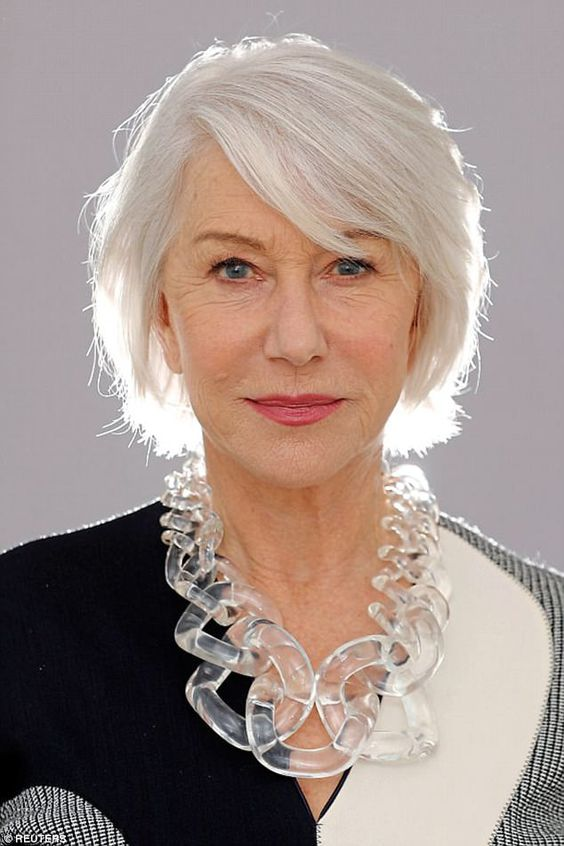 Helen Mirren Short Cut with Gray Highlights