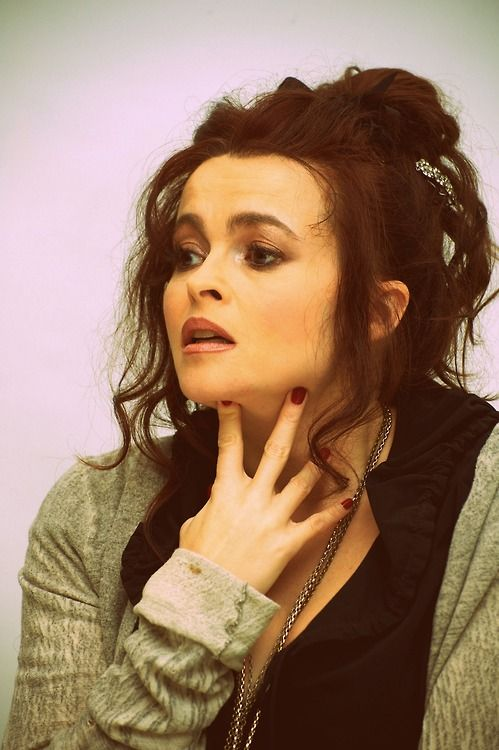 Helena Bonham Carter Lovely Updo with Bun and Bangs