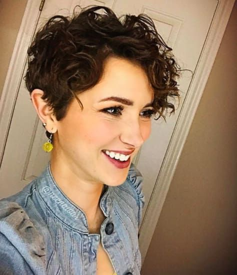 Brunette Curly Pixie Haircut