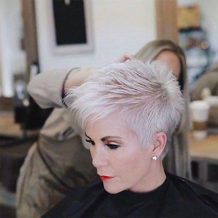 Spiky Cut with Silver Strands