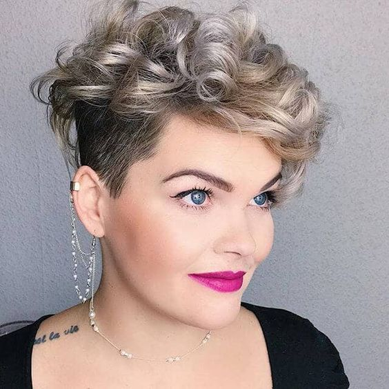 Short Curly Hairstyle with Shaved Side