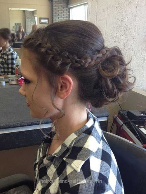 Curved Braid Updo for Prom